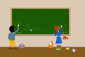 drawings on blackboard
