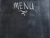 Menu wording with chalk on blackboard