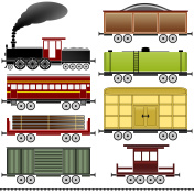 Steam locomotive train set with wagons, coaches