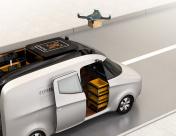 Drone taking off from van for delivering cardboard parcel