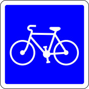 Bicycle allowed blue road sign