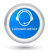Customer service (customer care icon) prime cyan blue round button