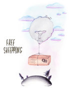 free shipping sheep falling with box watercolor illustration