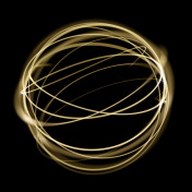 Gold light circle strings speed motion in sphere on black background.