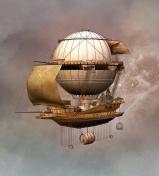 Vintage steampunk airship