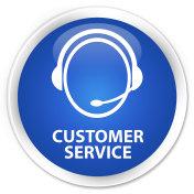 Customer service (customer care icon) premium blue round button
