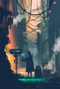 ci-fi scene of robot using futuristic computer in city street