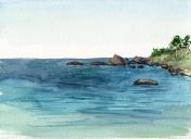 watercolor coast of sea