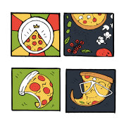 Pizza icons, posters, images set
