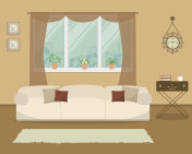 Living room in retro style with a white sofa