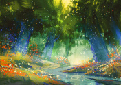 mystic blue and green forest,fantasy atmosphere