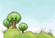 Trees on the green hills illustration, Happy world collection