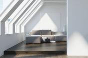 Attic living room, gray sofa, poster, dark