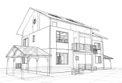 Abstract wire-frame construction house architecture