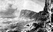 Victorian engraving Sa Foradada Mallorca, 19th century coastal scenery and tourism; cliffs, stormy seas and man 1890.