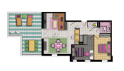 three-room apartment in pop style colors