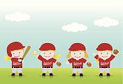 Softball Girls Blonde