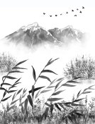 Ink Landscape with Mountains and Reeds