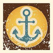 Anchor grunge vector icon