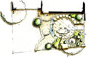 Garden landscape sketch layout design