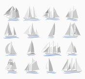 Set of sailing ships