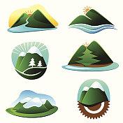 An assortment of cartoon mountain graphics