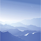 Blue snow-capped mountain background