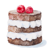 watercolor illustration chocolate cake