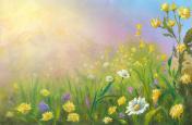 Flowering meadow, watercolor painting