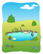 Meadow field and small lake - jpg illustration