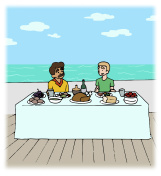 Illustration of Two Men Cruise Dining