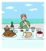 Illustration of a Man Cruise Dining