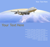 Picture of airplane on the blue background