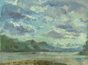 landscape with clouds painting