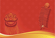 New year day background - Lion dancing and firecracker