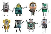 Cartoon robots - Eight characters