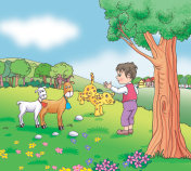 Shepherd kid on the meadow with some farm animals - jpg illustration