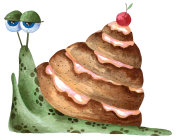 Watercolor drawn funny snail with a shell as a cinnamon bun.