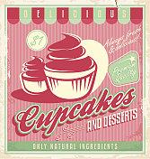 Cupcakes vintage poster design