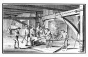 Forging an anchor (antique engraving)