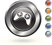 video game controller royalty free vector art on metallic button
