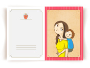 Happy Mother's Day greeting card with illustration of little son on his mother's back.