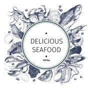 Vector hand drawn seafood symbol. Lobster, salmon, crab, shrimp, ocotpus, squid, clams.Engraved art in round composition.