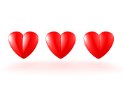 3D illustration of three red hearts