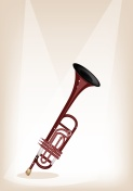 Musical Trumpet on Brown Stage Background