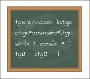 Blackboard with trigonometry equations