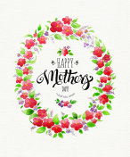 Greeting card Happy Mother's Day with spring flower wreath on textured paper. Watercolor illustration with lettering