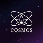 Icon template on space background. atom model Rasterized copy.