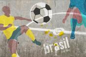 concrete wall with soccer graffiti