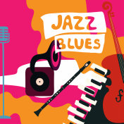 Jazz music festival poster with music instruments